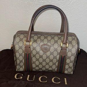 Authentic Gucci vintage web Boston satchel tote